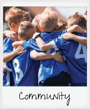 community - kids soccer team huddle